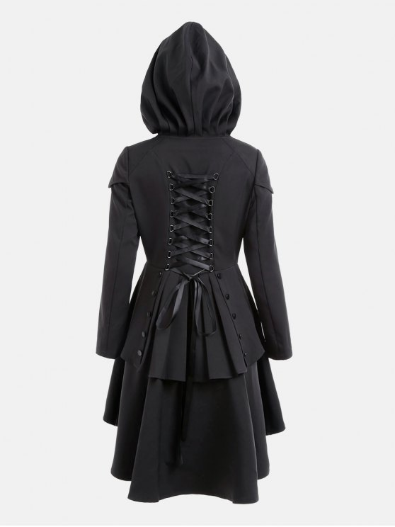 best Layered Lace Up High Low Hooded Coat - BLACK 2XL