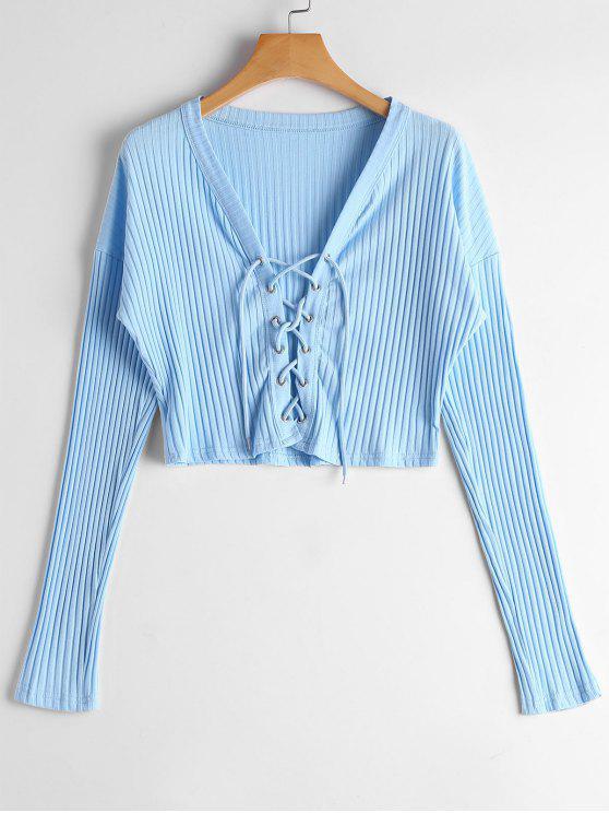 T-shirt Tressé Côtelé à Lacets - Bleu Clair S