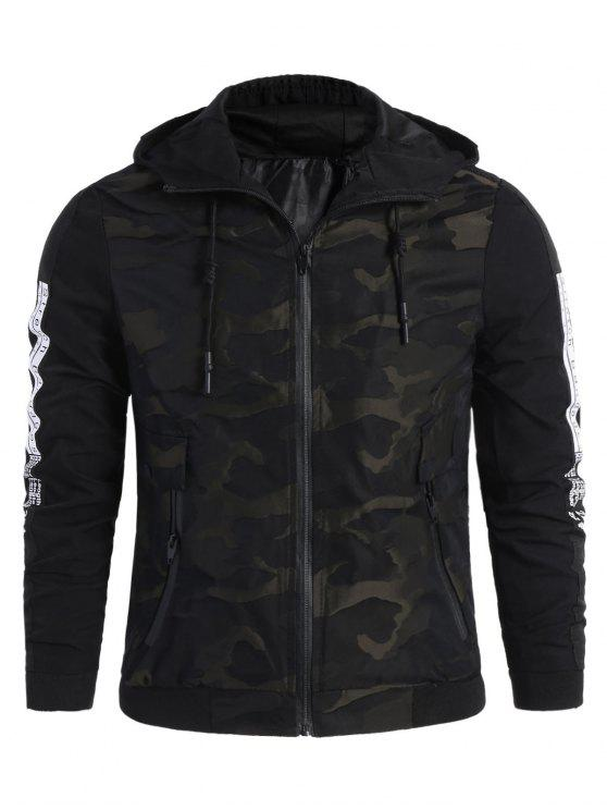 outfits Camo Side Letter Hooded Jacket - BLACK 2XL