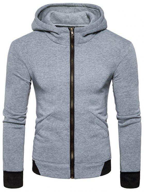 Hooded Rib Panel Fleece Zip Hoodie con cremallera - Gris Claro M