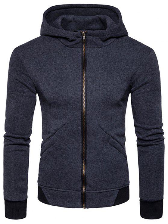 Hooded Rib Panel Fleece Zip Hoodie con cremallera - Gris Oscuro M