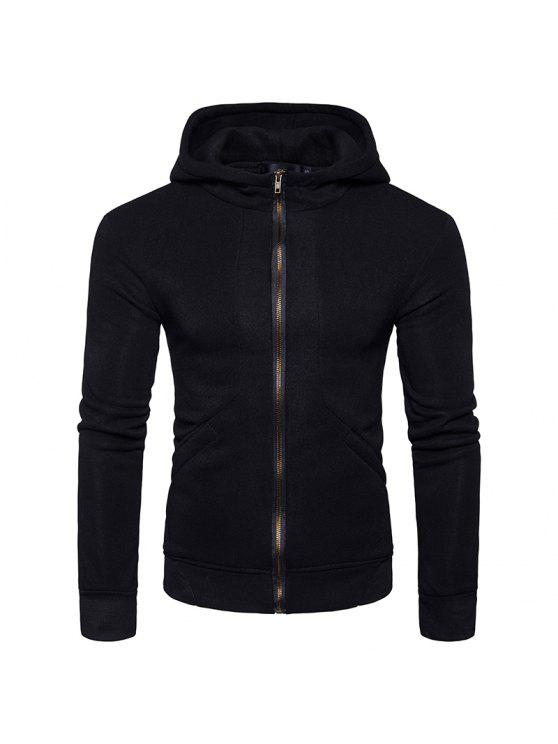 Hooded Rib Panel Fleece Zip Hoodie con cremallera - Negro XL