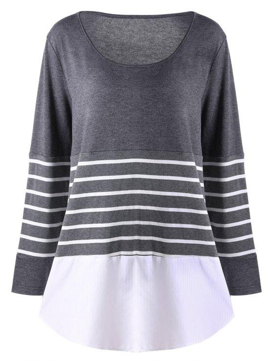 Top Size Striped Jersey Top - Cinzento XL