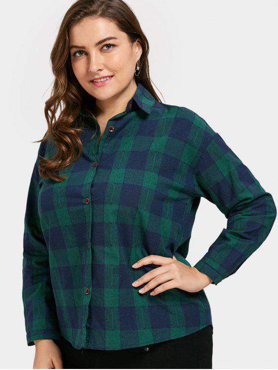 affordable Button Up Checked Plus Size Shirt - GREEN XL