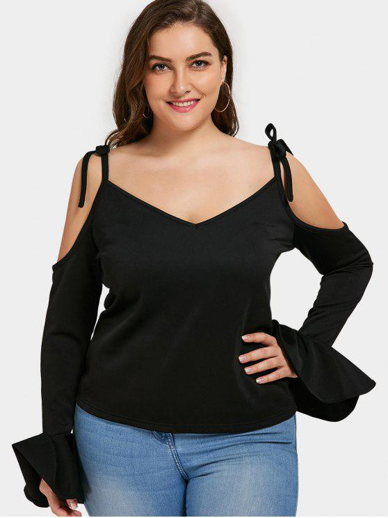fashion Bell Sleeve Cold Shoulder Plus Size Top - BLACK 5XL