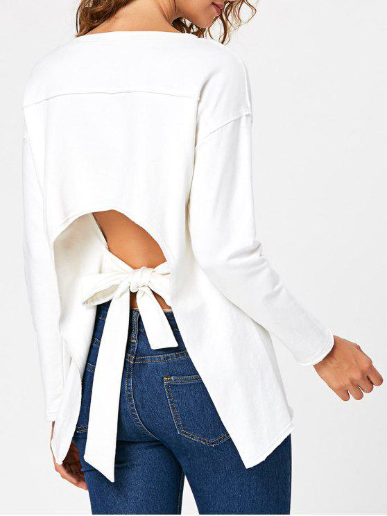 women Self Tie Cut Out Back Long Sleeve Top - WHITE M