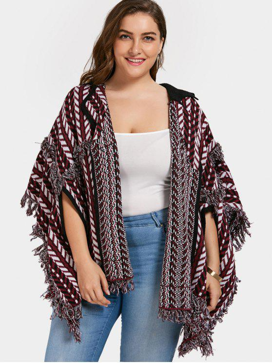 chic Plus Size Fringe Poncho Cardigan - DARK RED ONE SIZE