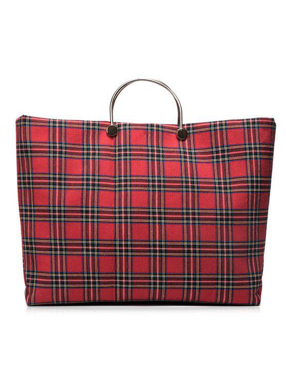 اللون كتلة ترتان قماش حقيبة يد - أحمر