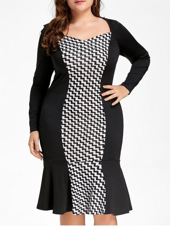 موجة الطباعة زائد حجم فستان ماكسي ذيل السمكة - أسود XL