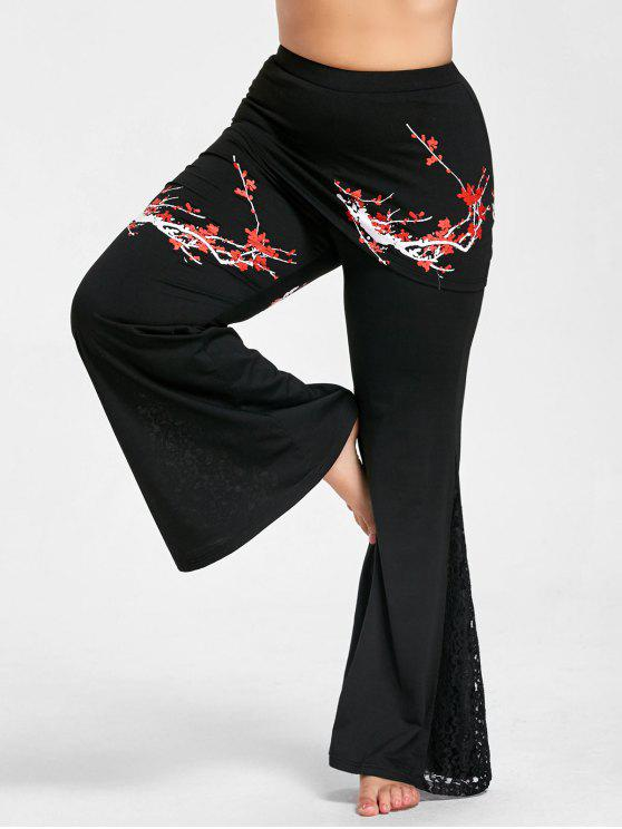 5d275f5f757 2018 Plus Size Floral Print Bell Bottom Lace Panel Skirted Pants In ...