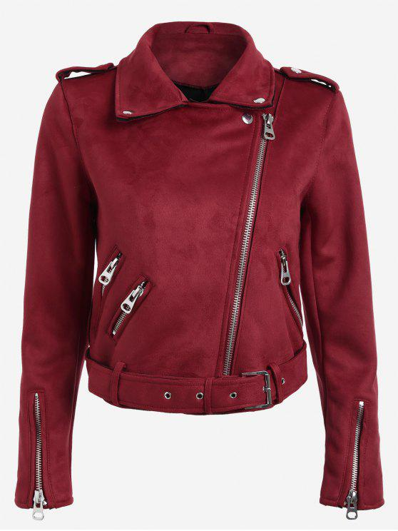 womens Lapel Zipper Pockets Suede Jacket - RED S