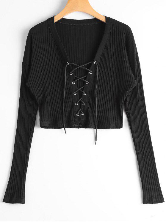 T-shirt Tressé Côtelé à Lacets - Noir M