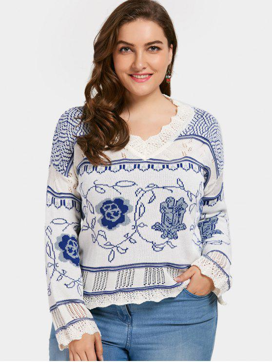 hot Plus Size Scalloped Jacquard Sweater - BLUE AND WHITE 4XL
