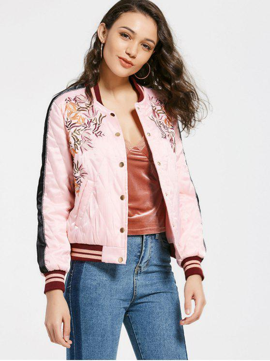 best Floral Patched Snap Button Bomber Jacket - PINK M