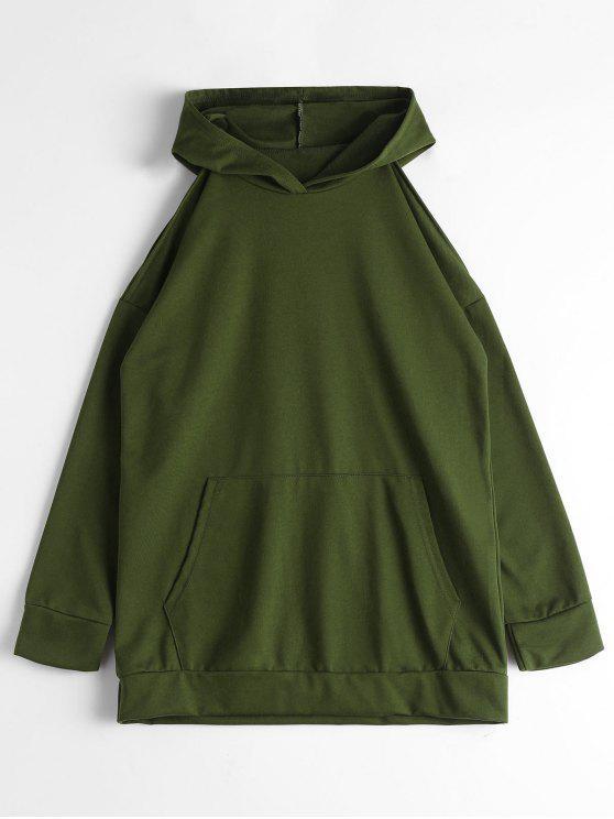 Hoodie mit Fronttasche und Kalter Schulter - Armeegrün XL