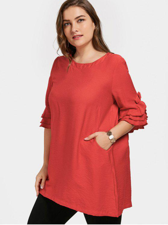 affordable Frilled Plus Size Tunic Dress - RED XL