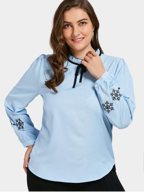 fancy Embroidered Ruffled Plus Size Top - BLUE 3XL