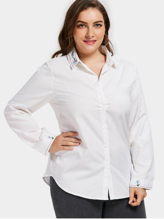 شيرت الحجم الكبير مطرز - أبيض XL