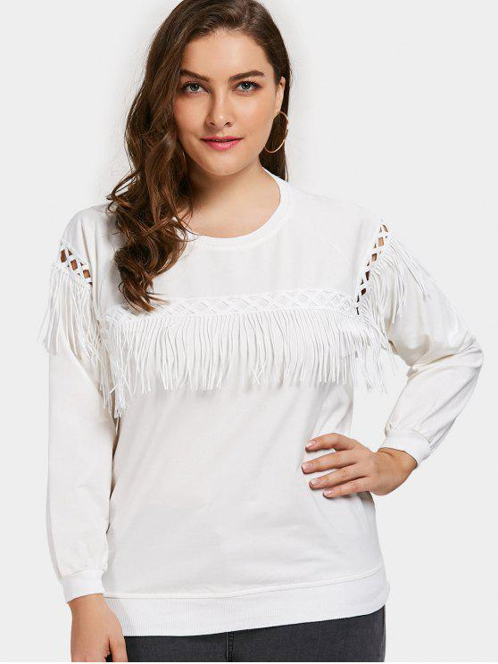 Plus Size Fringe Sweatshirt - Branco 3XL
