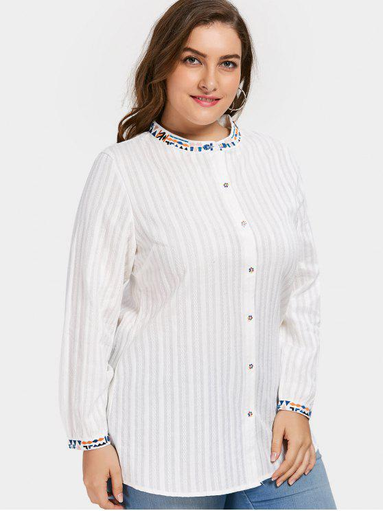 affordable Button Up Embroidered Plus Size Shirt - WHITE 2XL