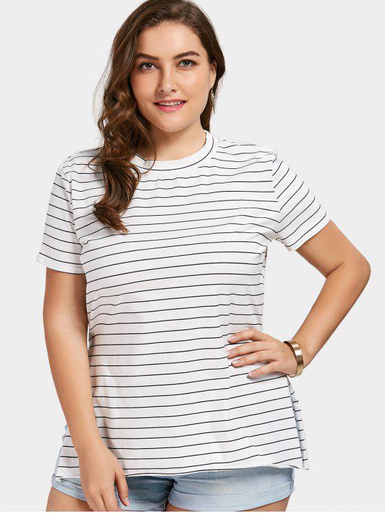 Übergröße Gestreiftes T-Shirt mit seitlichem Schlitz - Streifen  3XL