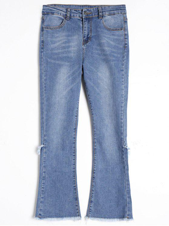 2018 Frayed Hem Boot Cut Jeans In BLUE L