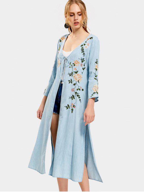 Blouse à Paillettes Brodées avec Fente Élevée - Bleu Léger  M