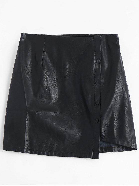 outfits Button Detail PU Leather Skirt - BLACK M