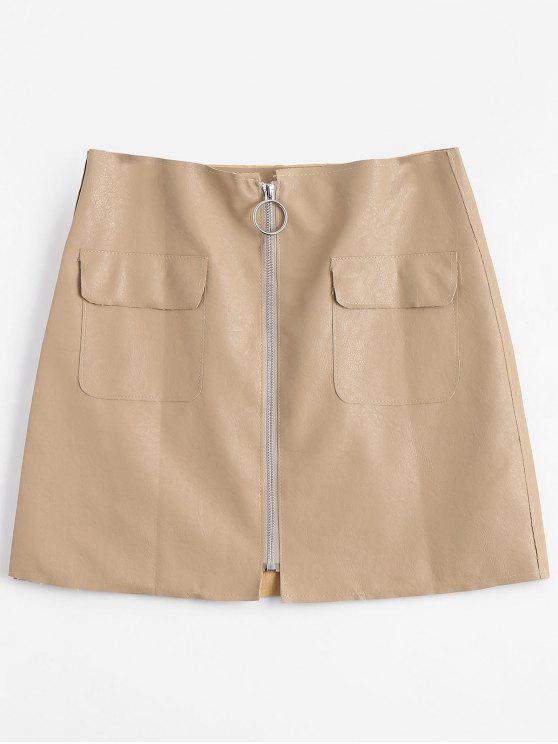 ladies Zipper Fly High Waisted Mini Skirt - APRICOT L