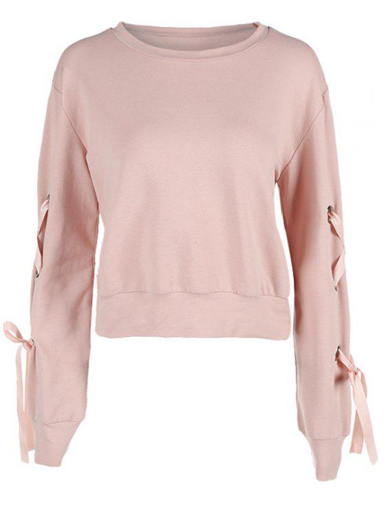 fashion Sweatshirt with Lace Up Long Sleeve - LIGHT PINK M