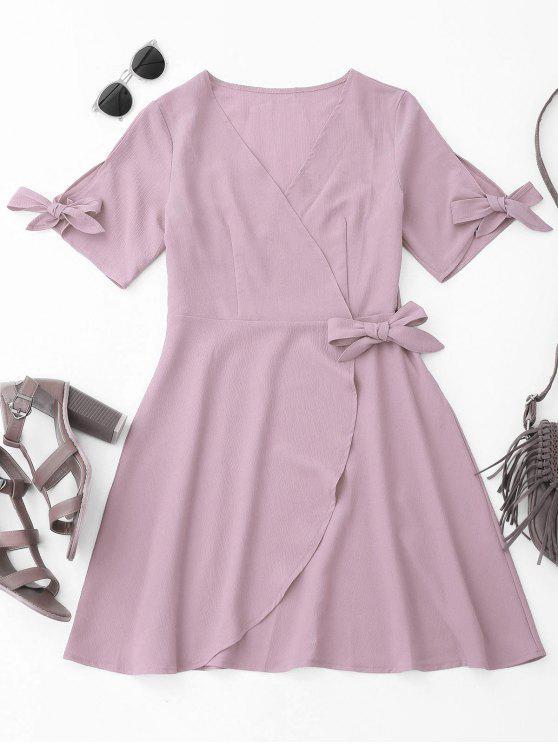 Robe Drapée de Couverture avec Noeuds - Violet Clair M
