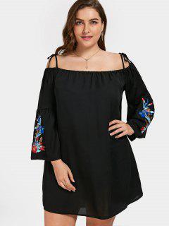 Floral Bestickt Cami Plus Size Kleid - Schwarz 5xl
