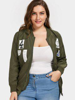 Plus Size Graphic Bomber Jacket - Army Green 3xl