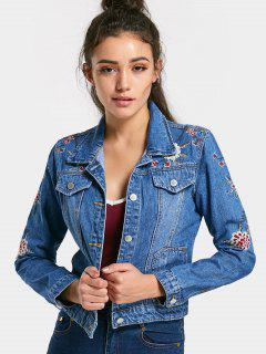 Embroidered Button Up Jean Jacket - Denim Blue S