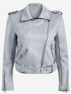 Lapel Zipper Pockets Suede Jacket - Blue Gray Xs