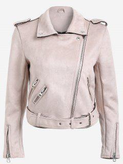 Lapel Zipper Pockets Suede Jacket - Pink M