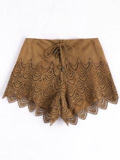 Laser Cut Lace-up Suede Shorts - Camel L