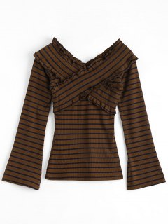 Striped Frilled Long Sleeve Top - Brown Xl