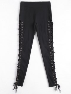 Skinny Lace-up Pants - Black L