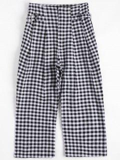 Checked High Waisted Capri Pants - Checked S