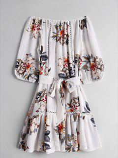 Floral Flounces Off Shoulder Mini Dress - Floral S