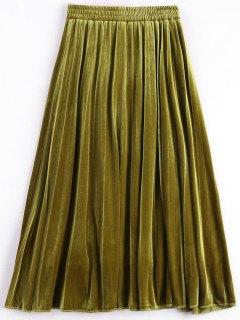 Velvet Tea Length Skirt - Mustard L