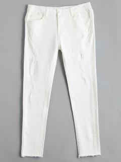 High Waisted Ripped Skinny Pencil Jeans - White 30