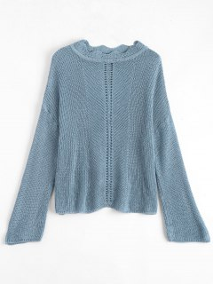 Scalloped Chunky Sweater - Blue