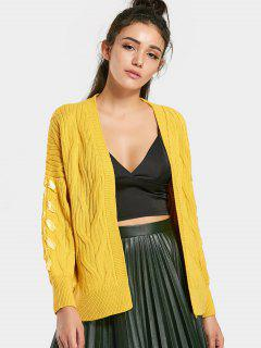 Ribbons Open Front Cable Knit Cardigan - Yellow