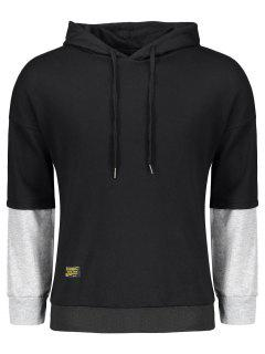 Pullover Two Tone Hoodie - Black And Grey L