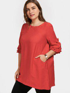 Frilled Plus Size Tunic Dress - Red 3xl