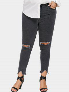Plus Size Distressed Jeans - Gray 4xl