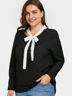 Self-tie Ruffles Plus Size Top - Black 3xl