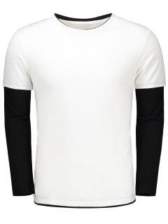 Long Sleeve Color Block T Shirt - White Xl